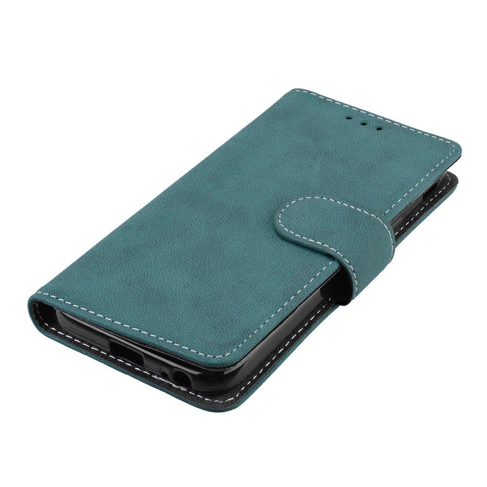 Retro Frosted 3 Card Slots Cuero De La PU Magn/ético Capirotazo Billetera Apoyo Bumper Protector Cover Funda Carcasa Case Negro Para Samsung Galaxy J3 2017 // J330F // J3 Pro 2017 Funda
