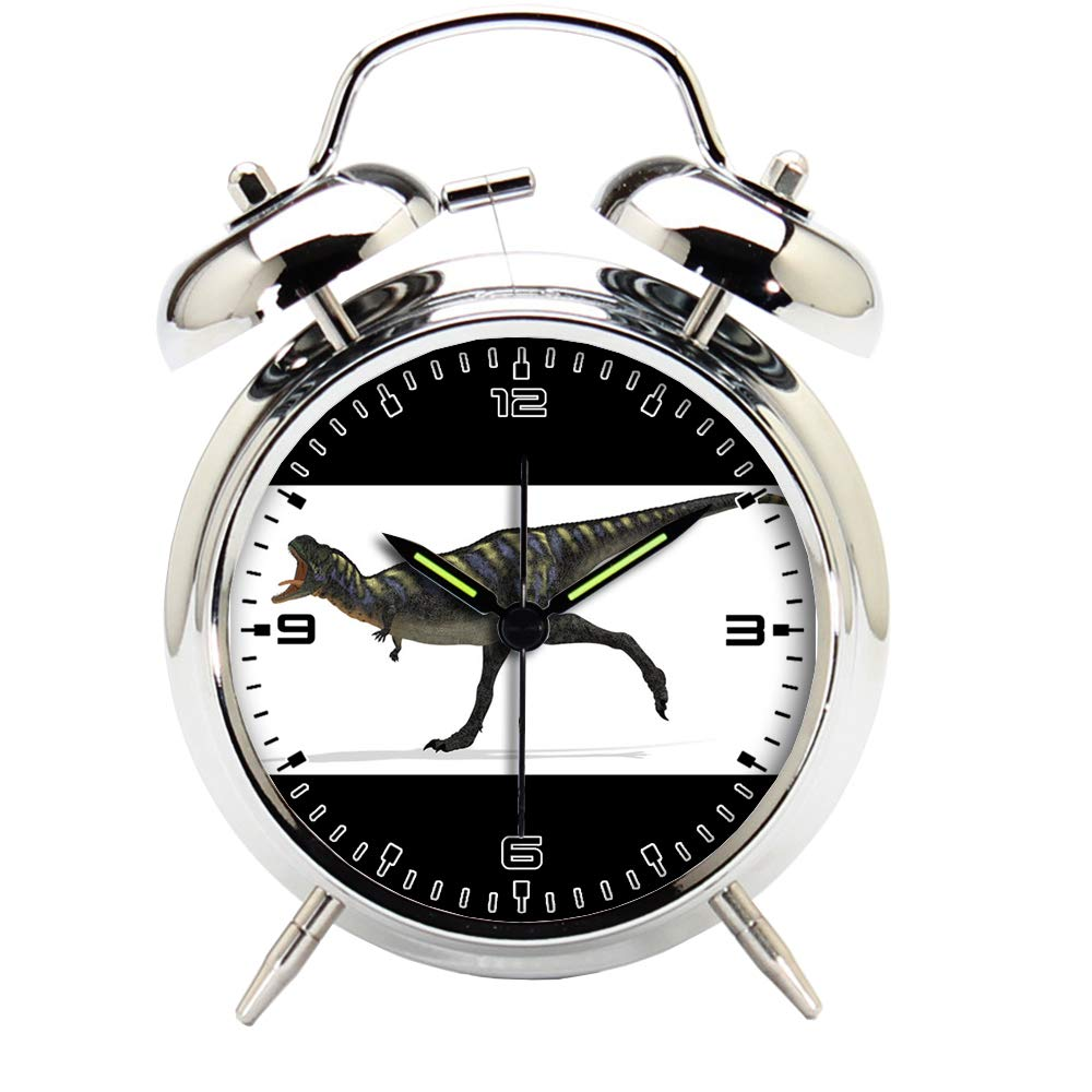 Children's Room Silver Dinosaur Silent Alarm Clock Twin Bell Mute Alarm Clock Quartz Analog Retro Bedside and Desk Clock with Nightlight-587.6_Dinosaur aucasaurus Animal Reptile Creature