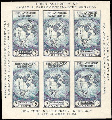 Farley Byrd Expedition Souvenir Sheet of Six Stamps Scott 735 By (6 Stamps Souvenir Sheet)