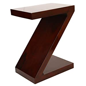 Riddhi Siddhi Home Decor Sheesham Wood Z Shape Bedside Table for Living Room | Mahogany Finish