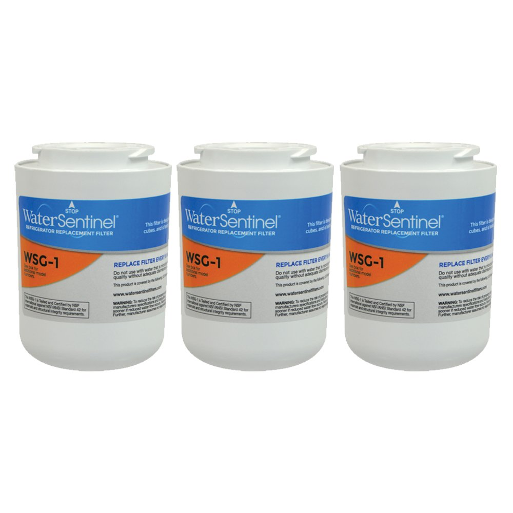 WaterSentinel WSG-1 Refrigerator Replacement Filter: Fits GE, Hot Point & Kenmore Filters (3-Pack)
