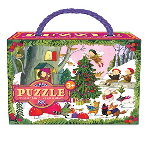 eeBoo Christmas in The Woods Glitter Puzzle for Kids, 20 Pieces
