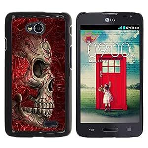 Be Good Phone Accessory // Dura Cáscara cubierta Protectora Caso Carcasa Funda de Protección para LG Optimus L70 / LS620 / D325 / MS323 // Red Blood Skull Bones Death Biker