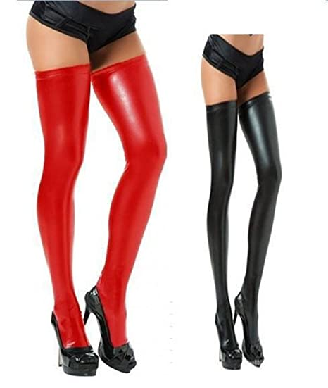 a76a8d0fe57fd Image Unavailable. Image not available for. Color: SJWM-Leg Avenue Women's  Wet Look Thigh High Stockings ...