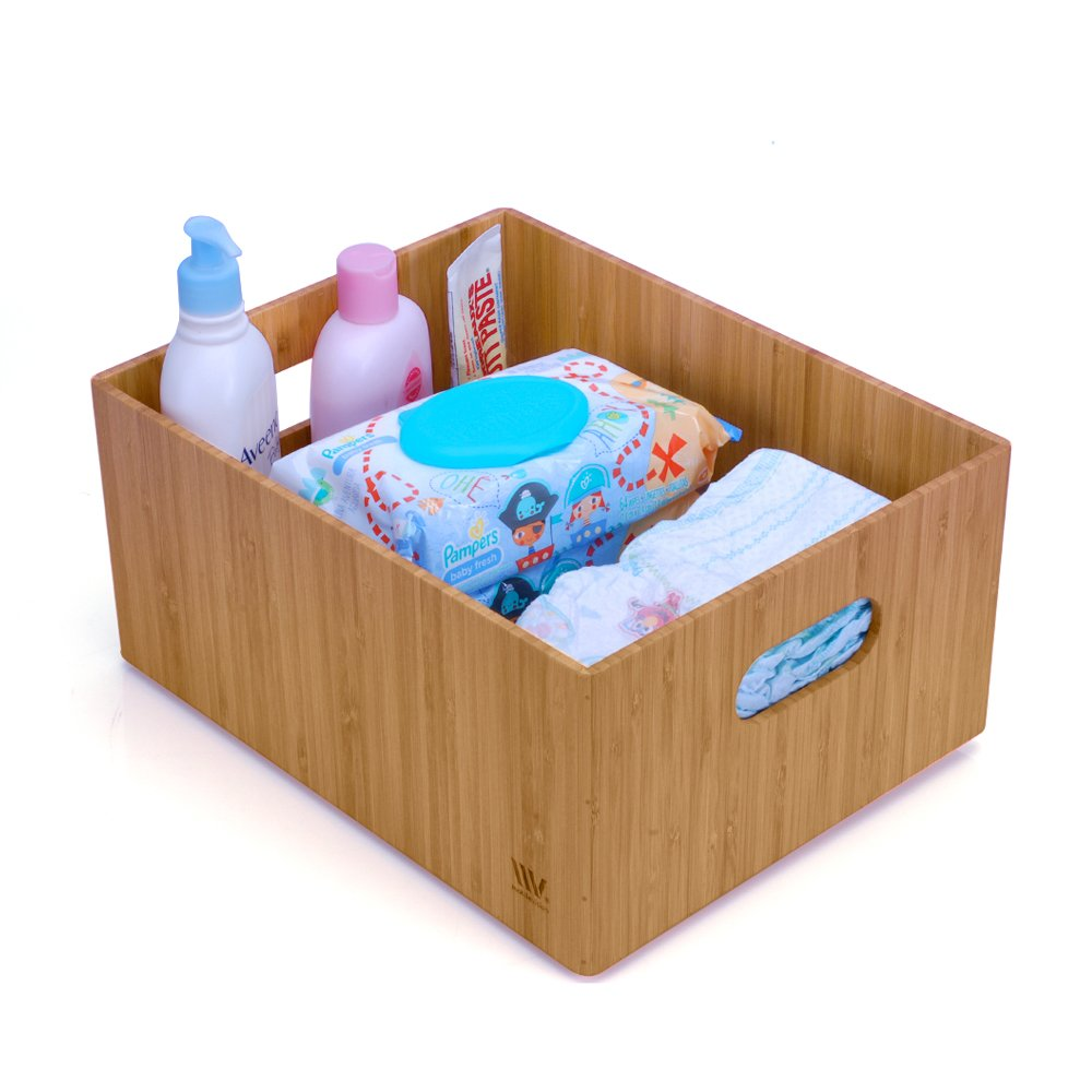 """Bamboo Storage Box for Baby Products & Nursery Supplies Durable Bin Dual Handles Stackable Use to Store Diapers Wipes Essentials Cloths, 14""""x11""""x 6.5"""""""