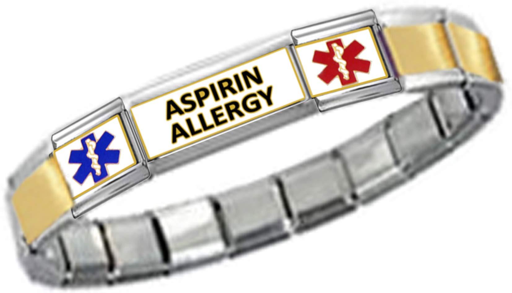 Stylysh Charms Aspirin ID 9mm Link Gold Tone Matte Ctr Bracelet