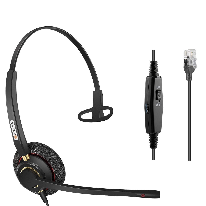 Office Phone headsets Rj9 with Noise Cancelling Mic for Mitel 5220e 5330e 5330 5340 Polycom VVX311 VVX410 VVX411 VVX500 Avaya 1408 1416 5410 ShoreTel 230 420 480 NEC Landline Deskphones (A800S) by AAA ARAMA