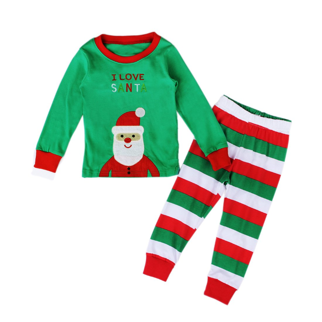 EITC Toddler Kid Boys Girls Cotton Christmas Santa Pajamas Shirt /& Pants Sets 2 Pcs