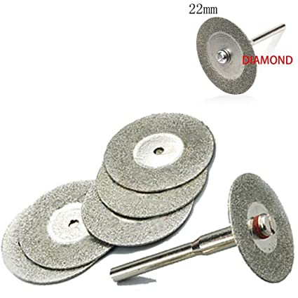 Generic Emery Diamond Cutting blades Drill Bit+1 Mandrel for Dremel Set (22 mm) -5 Pcs