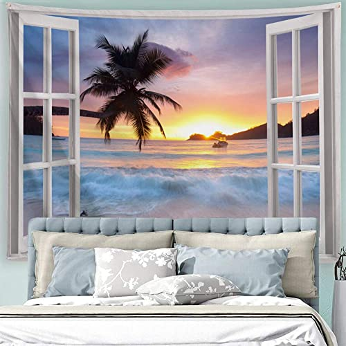 ALFALFA Wall Hanging Decor Nature Art Polyester Fabric Tapestry, Ocean Beach Theme, for Dorm Room, Bedroom,Living Room – 90 W x 71 L 230cmx180cm – Seaside Sunrise Out of The Window