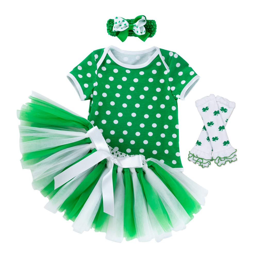 ALLAIBB Easter Print Short Sleeve Romper with Tulle Dress Outfits 4Pcs for Baby Girls