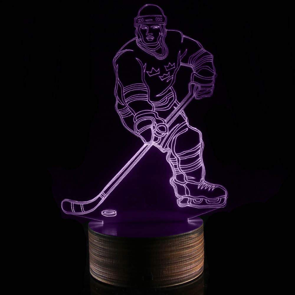 Novelty Lamp, 3D LED Lamp Hockey Player Optical Illusion Night Light, USB Powered Remote Control Changes The Color of The Light, Ideal Gift for Children's Friends and Family,Ambient Light by LIX-XYD (Image #6)