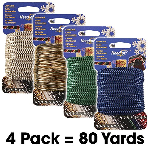 #2 Craft Cord 4-Pack Special - Needloft - Includes: #02 Metallic Blue, #04 Metallic Green, #07 White Gold, #20 Solid Gold - 4 Pack 80 Yards (04 Canvas)