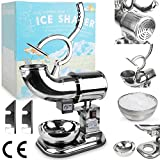WYZworks Commercial Heavy Duty Ice Shaver with 2 Extra Blades - 440lb/h Sno Snow Cone Shaved Icee Maker Machine