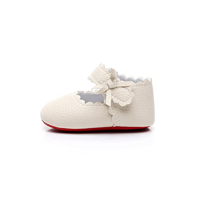 3e53e2e177ee HONGTEYA Baby Girls Red Bottom Ballet Dress Shoes - Mary Jane Soft Sole  Sidebow Toddler Moccasins ...