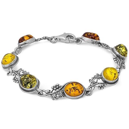 Multicolor Amber Sterling Silver Grapevine Bracelet 7