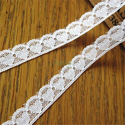 10 Meters Heart Soft Nylon Lace Edge Trim Ribbon 1.3 cm Width Vintage Style Off White Edging Trimmings Fabric Embroidered Applique Sewing Craft DIY Valentine's Day Gifts Cards Packing Decoration