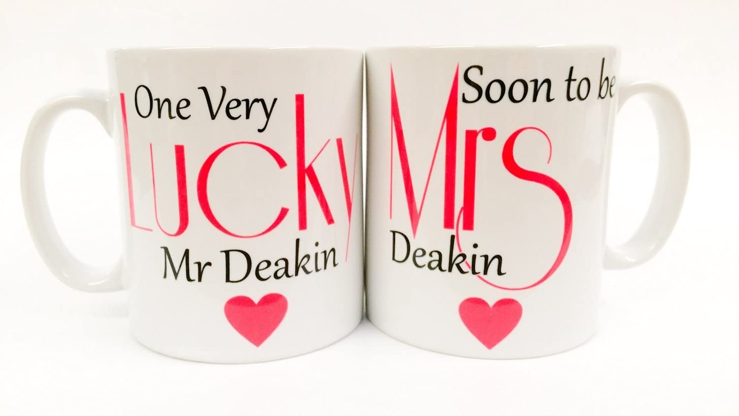 One Lucky Mr /& Soon to be Mrs! Amore Pair of China Wedding Engagement Gift Mugs
