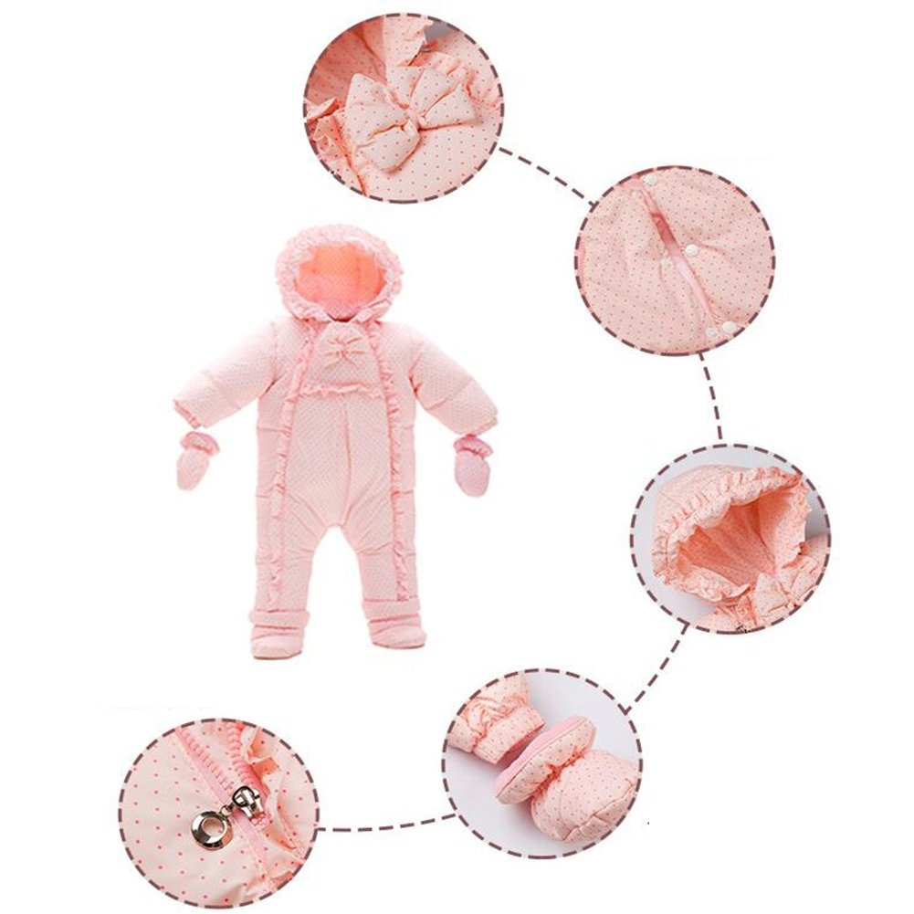 Zulaniu Baby Toddler Hooded Down Snowsuit Romper Footie Jumpsuit Double Zipper 3pieces with a Bellyband