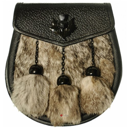 Half Sporran Grey Rabbit 3 Tassel Black Flap Jet Black Thistle Badge