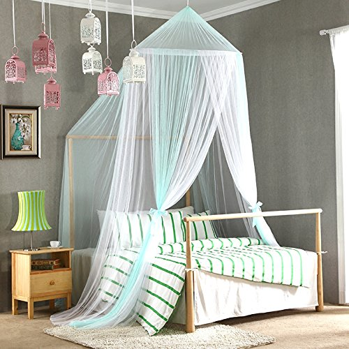 Mosquito net for twin,Full,Queen size bed,Large mosquito netting curtains,Canopy for beds,Round insect fly screen,Insect protection repellent shield,Full hanging kit-Aqua 120x200cm(47x79inch)