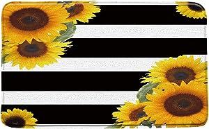 XZMAN Sunflower Bath Mat,Sunflower Flower Black and White Striped Rustic Floral Creative Black Yellow Art Bathroom Rug Decor,Bedroom Kitchen Toilet Rug,Soft Memory Foam Non Slip Backing,24x31 Inch