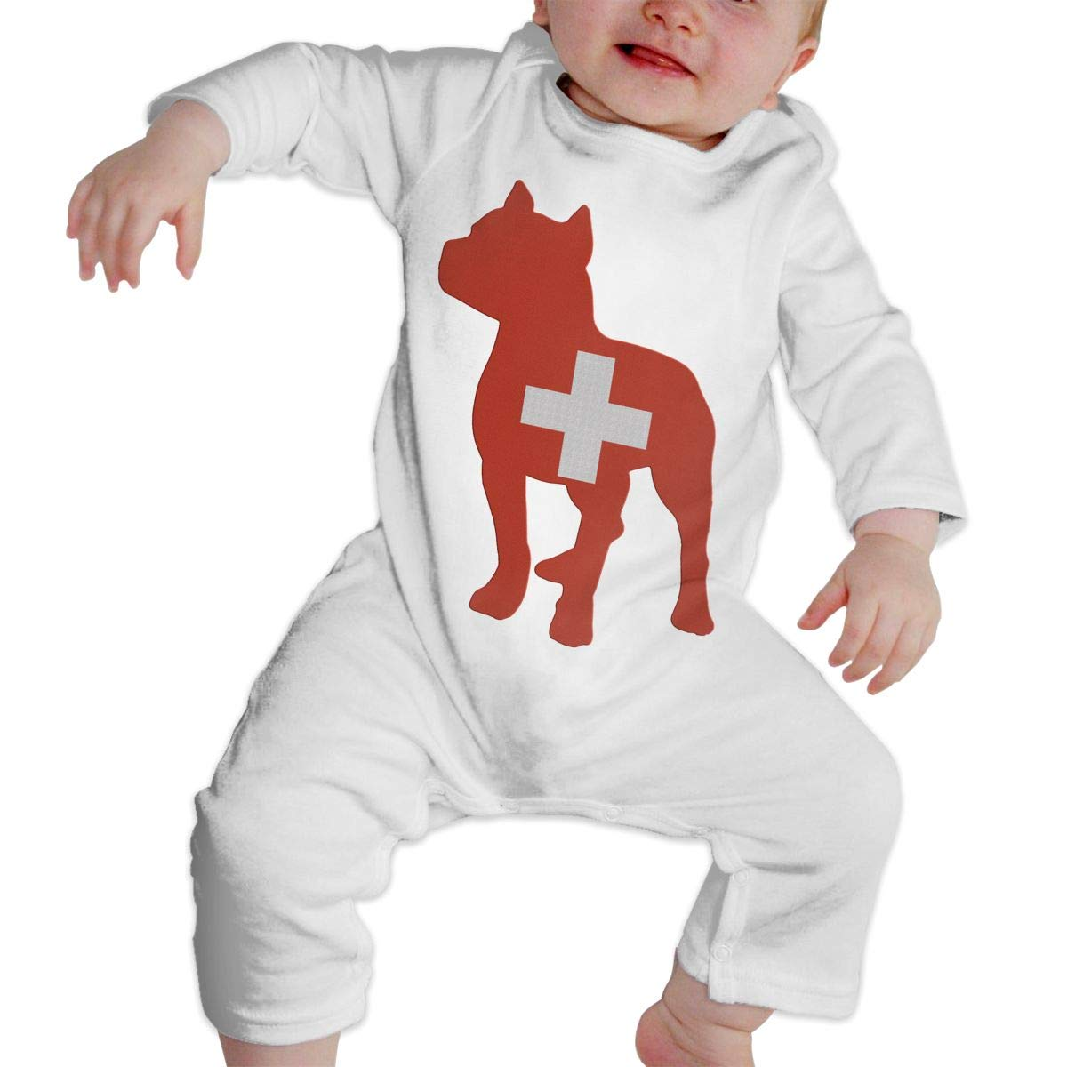 A1BY-5US Infant Baby Boys Girls Cotton Long Sleeve Patriotic Pitbull Switzerland Flag Romper Bodysuit One-Piece Clothes