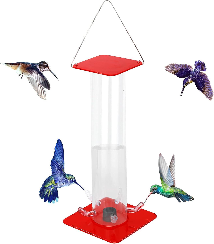 Peter's Hummingbird Feeder ,Outdoor Hanging Hummingbird Feeder with Bright Transparent Tube,Convenient Birds Feeder,Transparent Vertical Polycarbonate Tube Bird Feeder,Best Gift for Bird Watchers