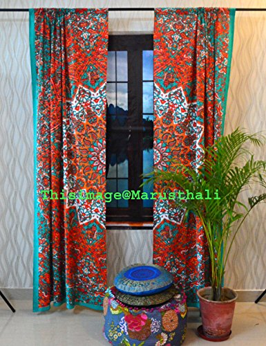 Indian Mandala Curtain Panel Elephant Living Room Tab Top Luxury Door (Tab Top Tapestry)