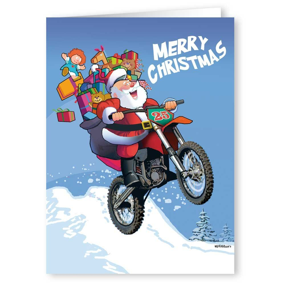 Amazon.com: Motorcycle Christmas Card - 18 Cards & Envelopes - Santa ...