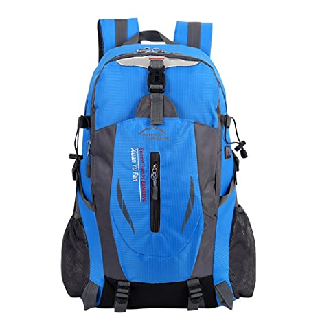 711cf4ebbffe Doubmall Lightweight Travel Hiking Backpack Waterproof Outdoor Camping  Hiking Daypack 40L Sport Backpack for Men Women Blue