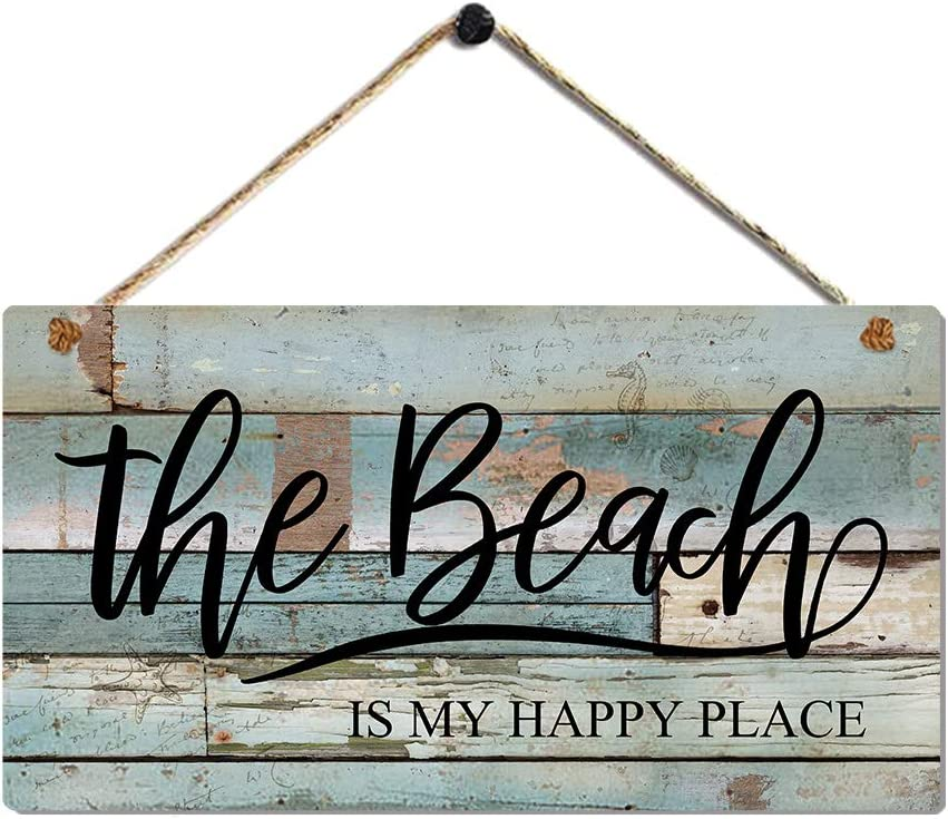 Vintage Beach Decor Plaque with Coastal Themed Wall Decor Beach Signs-the Beach is My Happy Place by 11.5x6 Inches