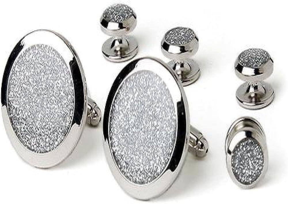 Silver Diamond Dust Tuxedo Studs and Cufflinks Set Silver Trim