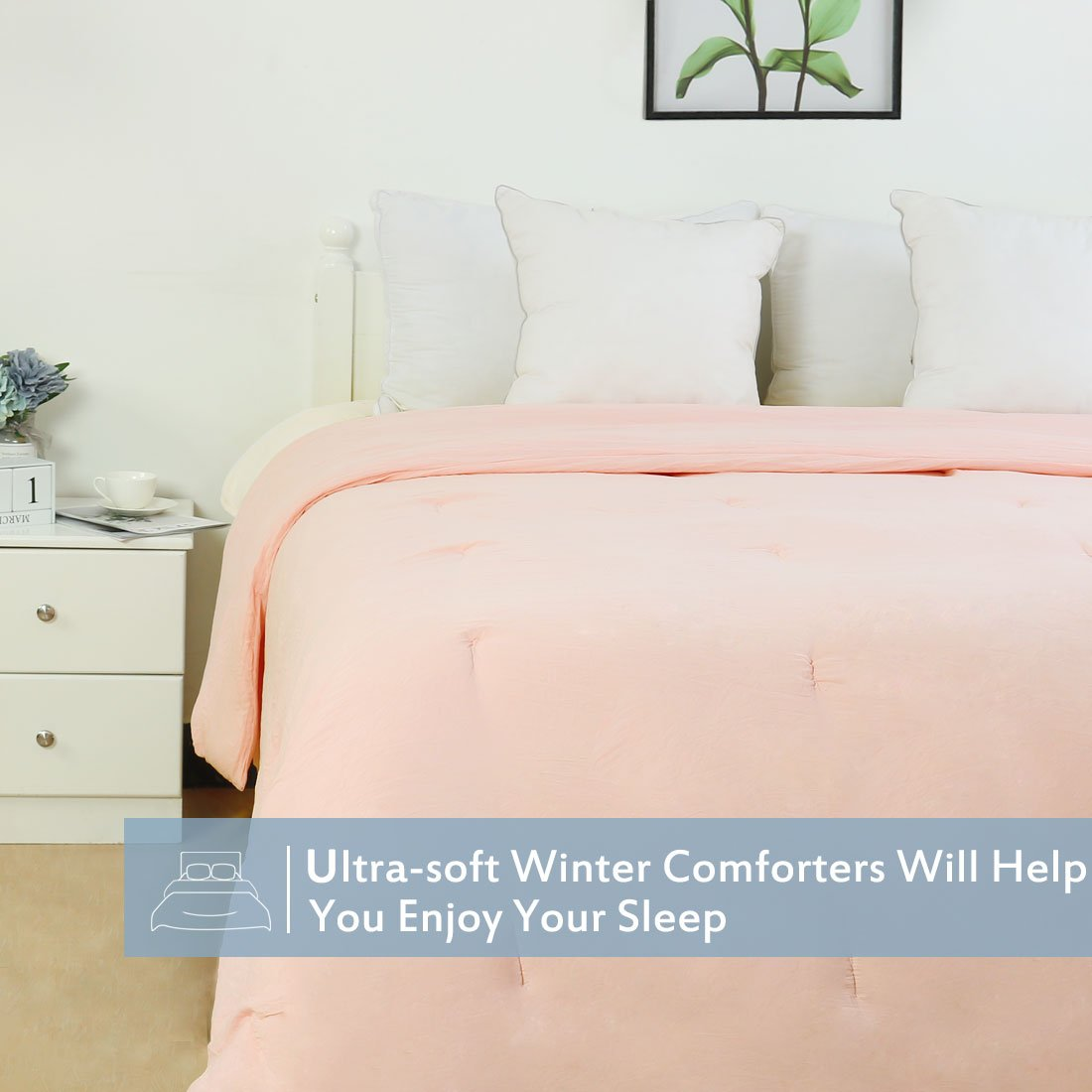 uxcell Quilted All-Season Comforter Duvet Insert Polyester Fill 240GSM Comfortable Wrinkle Fade Resistant Breathable Twin Light Green a18061200ux0366