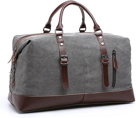 54cm Lona de cuero hombres bolsas de viaje llevar en el