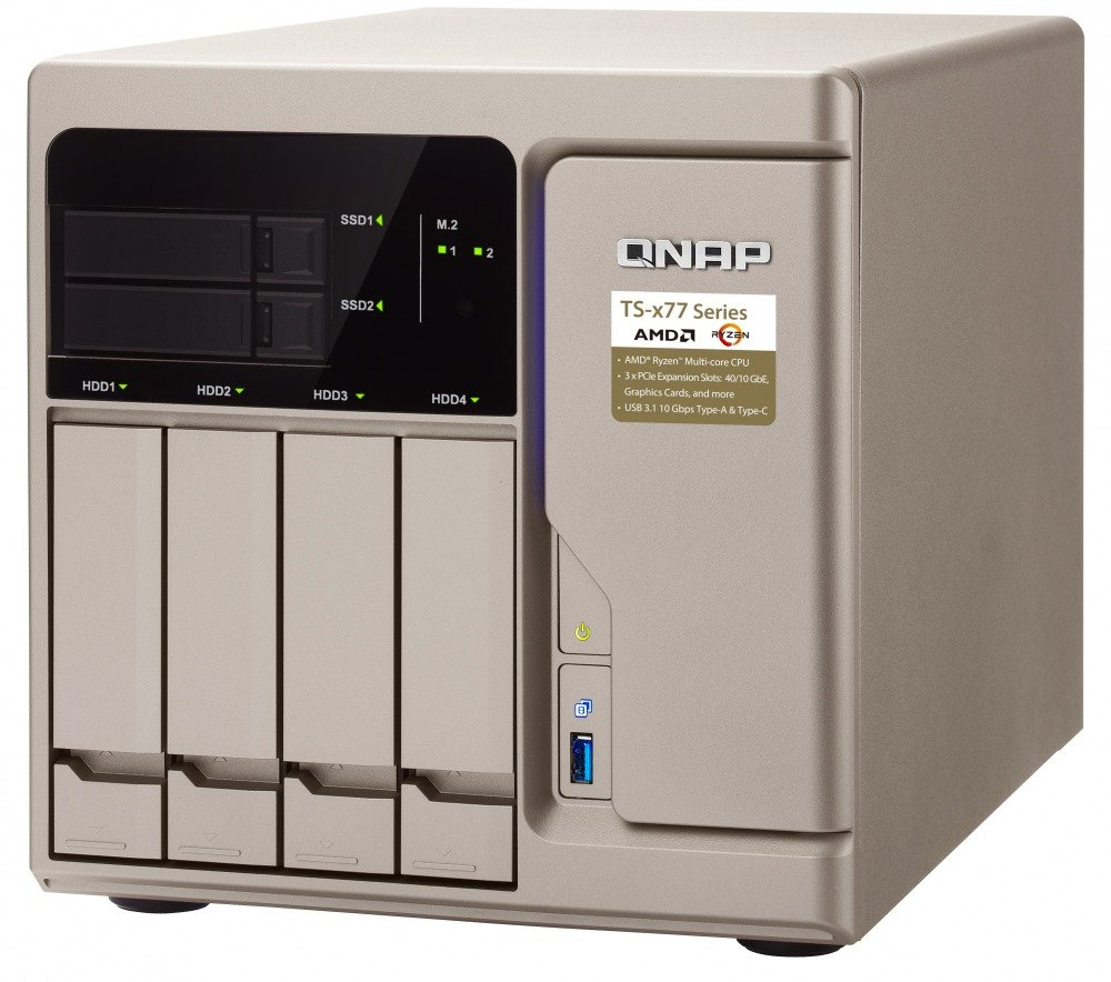 QNAP TS-677-1600-8G-US High-Performance 6 Bay (4+2) NAS/iSCSI IP-SAN. AMD Ryzen 5 1600 6-core 3.2GHz, 8GB RAM, 10G-Ready by QNAP