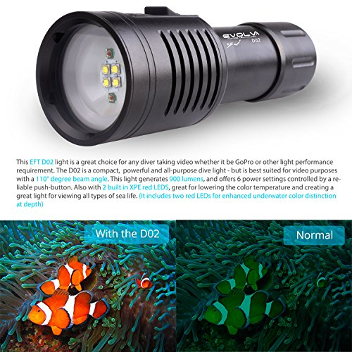 Evolva Future Technology D02 Scuba Diving Underwater 100M Video Camera Photography Light Torch Flashlight