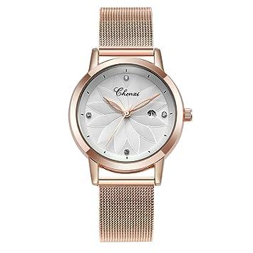 Hswt Reloj De Mujer La Moda Acero Inoxidable Correa De Malla Rhinestone Impermeable con Calendario Accesorios