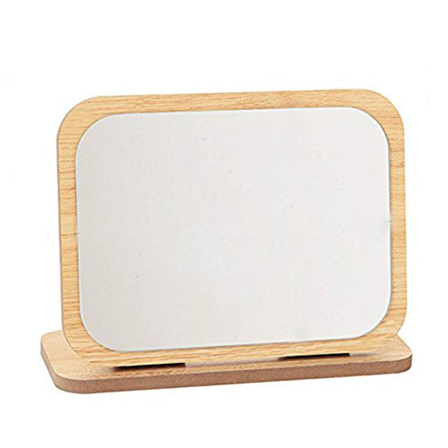 GOHIDE High Definition Cosmetic Mirror Wooden HD Makeup Mirror Simple Beauty Mirror Dressing Folding Simple Portable Large Desktop