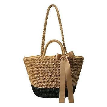 Zyurong® tissé Sac de plage d'été, Chic en rotin Sac à main, Ménage Panier de rangement