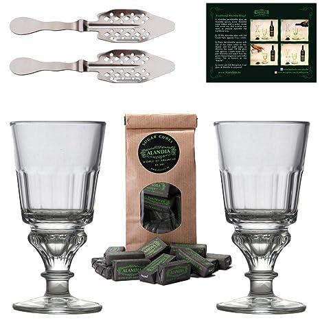 Juego para Absinthe / Absenta: Completo con 2x Vasos / Copas Absenta - 2x Cucharas
