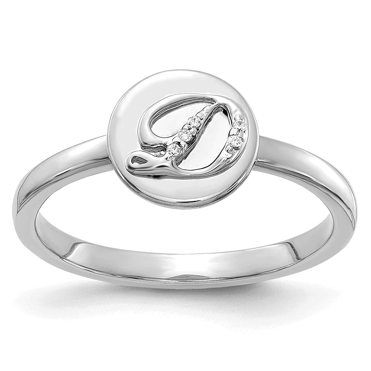 14k White Gold w//Diamond Accent Initial Letter D Ring Size 7