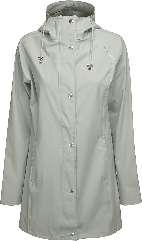 Ilse Jacobsen Leichter Damen Mantel wasserdicht Winddicht RAIN87 Polyester mit Gummi /Überzug Regenjacke mit Kapuze und verstellbaren /Ärmeln