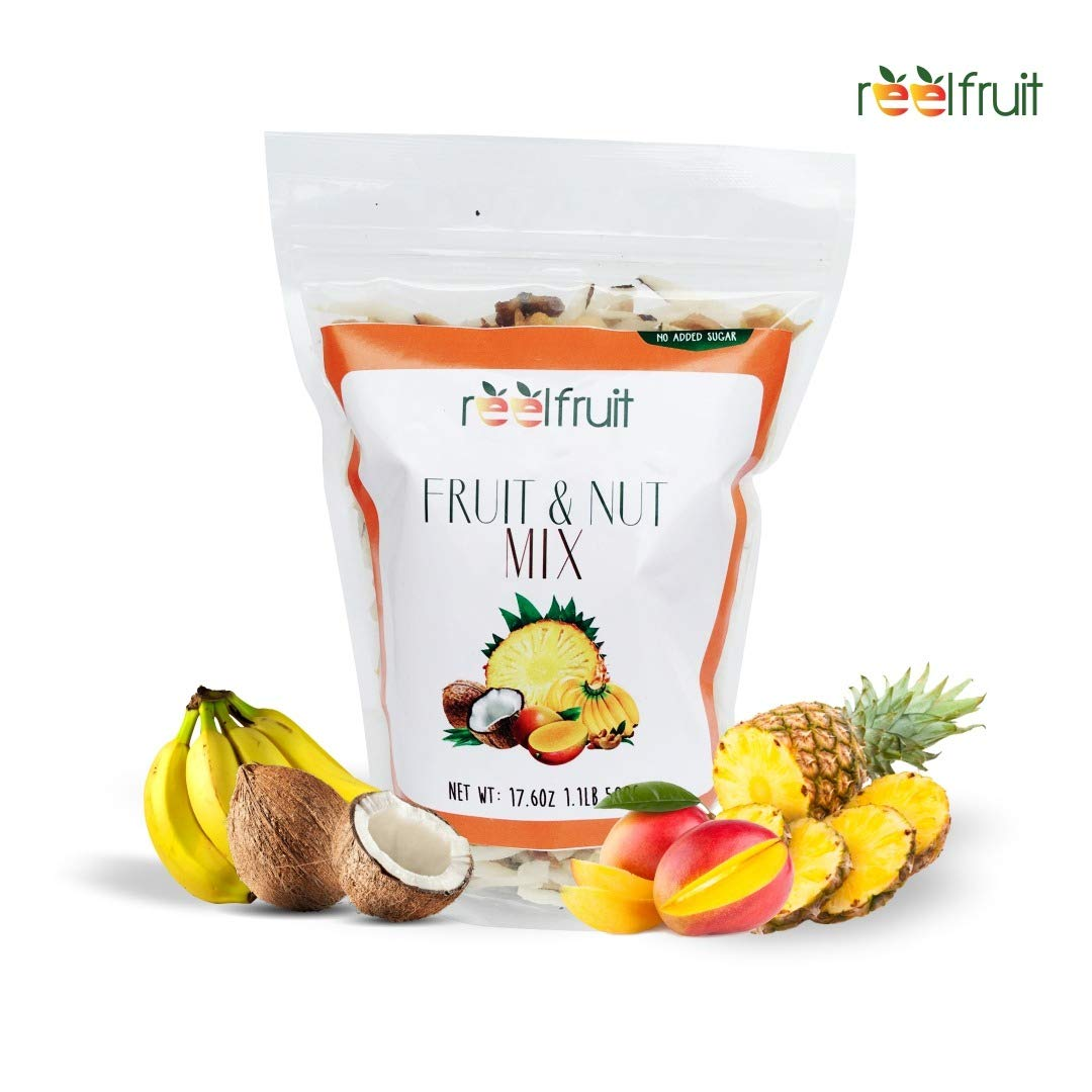 ReelFruit Non - GMO Premium Dried Tropical Fruit Mix, Cashews, Coconut, Mango Trailmix. No added Sugar Vegan Dehydrated Fruit Snacks & Made in Nature (500g - 17.50z) by ReelFruit