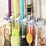 Mop and Broom Holder, 5 Non-slip Automatically Adjustable Positions with 6 Hooks, Wall and Closet Mounted Organizer, Brooms, Mops, Rakes, Garden Equipment, Sports Equipment Storage Organiser
