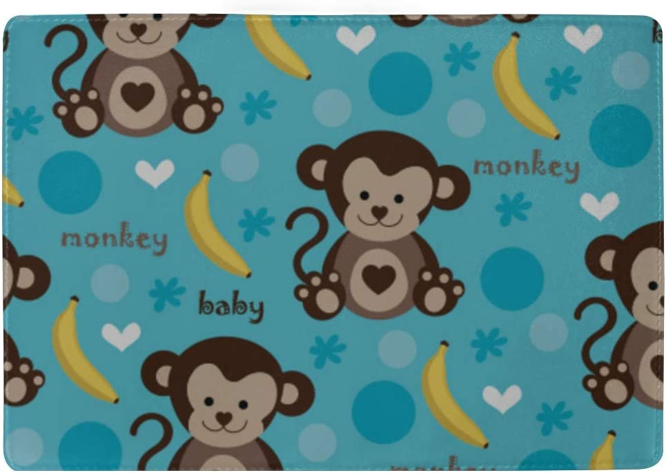 Passport Covers For Kids Adorable Cute Kids Monkey And Banana Stylish Pu Leather Travel Accessories Passport Covers For Men For Women Men