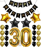 Arts & Crafts : 30th BIRTHDAY PARTY DECORATIONS KIT - Happy Birthday Banner, 30th Gold Number Balloons,Gold and Black, Number 30, Perfect 30 Years Old Party Supplies,Free Bday Printable Checklist