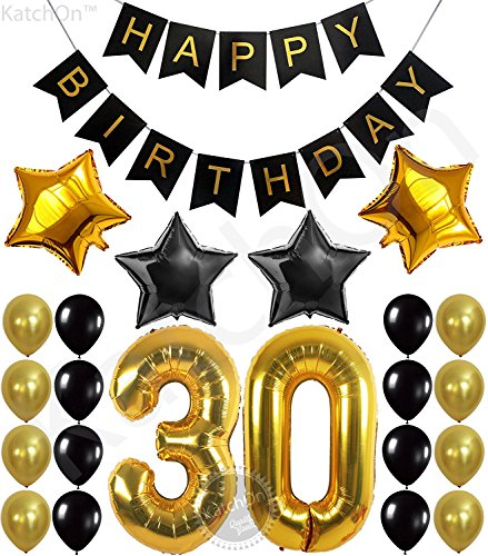 KATCHON 031 Party Decorations Kit-Happy Birthday Banner, 30th Balloons,Gold and Black, Number 30 ()