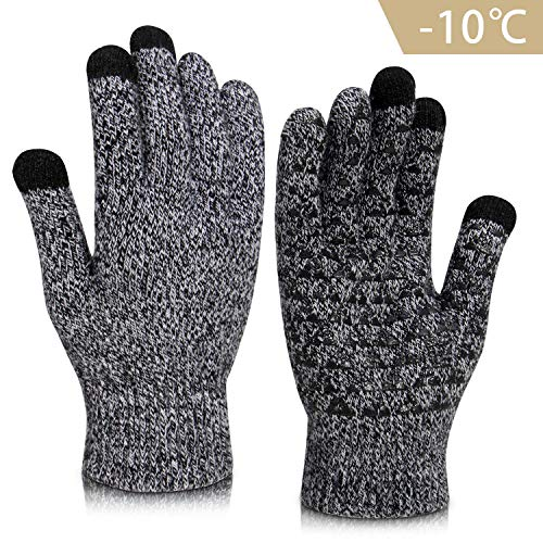 Vetoo Winter Gloves for Men and Women, Knit Touch Screen Warm Anti-Slip Silicone Gel Glove, Elastic Cuff Thermal Soft Wool Lining, Power Stretch, Black&White Large Size