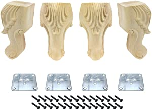 """Karcy Legs for Furniture Set of 4 Wooden Legs for Furniture 5.91"""" Sofa Legs with Mounting Hardware Carved Style"""